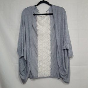 Lace back open front cardigan gray OS